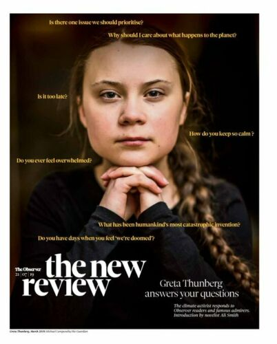 UK Observer Review July 21st 2019: GRETA THUNBERG Photo Cover Rosalia CLIVE OWEN