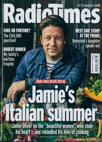 Radio Times Magazine 11 August 2018: JAMIE OLIVER Mark Gatiss ROBERT RINDER