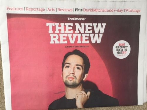 UK Observer Review DECEMBER 2017: LIN-MANUEL MIRANDA Hamilton COVER INTERVIEW