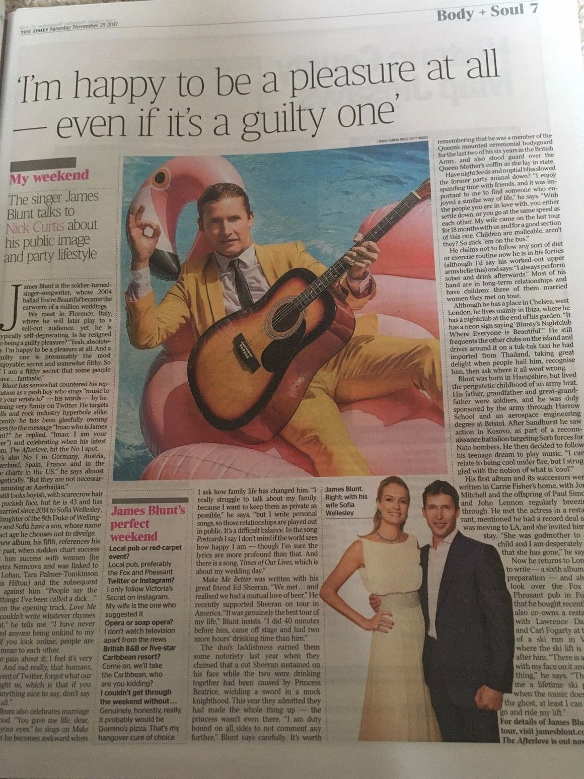 UK Times Weekend 25 November 2017 James Blunt Interview