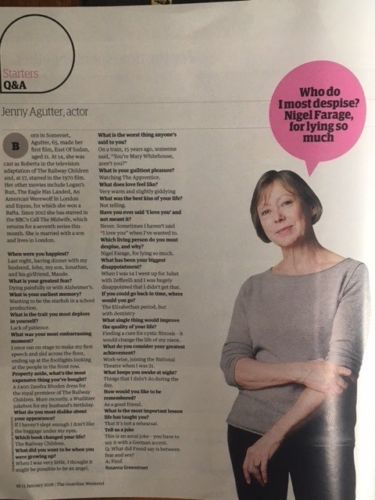 Guardian Magazine 01/2017 JENNY AGUTTER INTERVIEW - BARACK OBAMA WEST WING