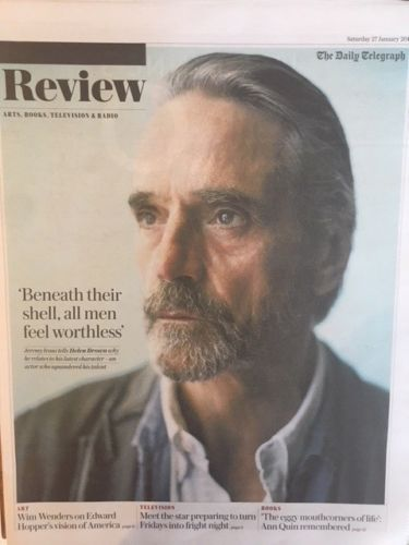 UK Telegraph Review 27TH Jan 2018 JEREMY IRONS Lydia Wilson Ragnar Kjartansson