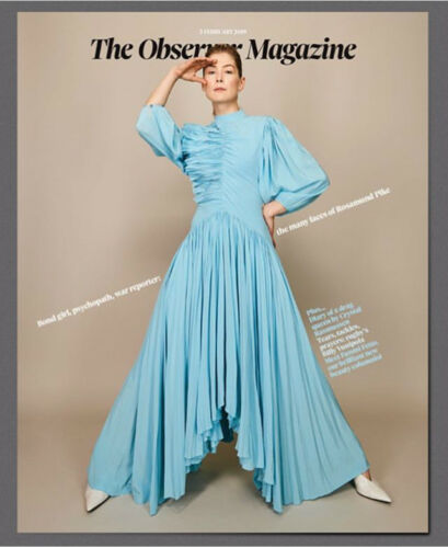 UK Observer Magazine FEB 2019: ROSAMUND PIKE PHOTO COVER AND FEATURE