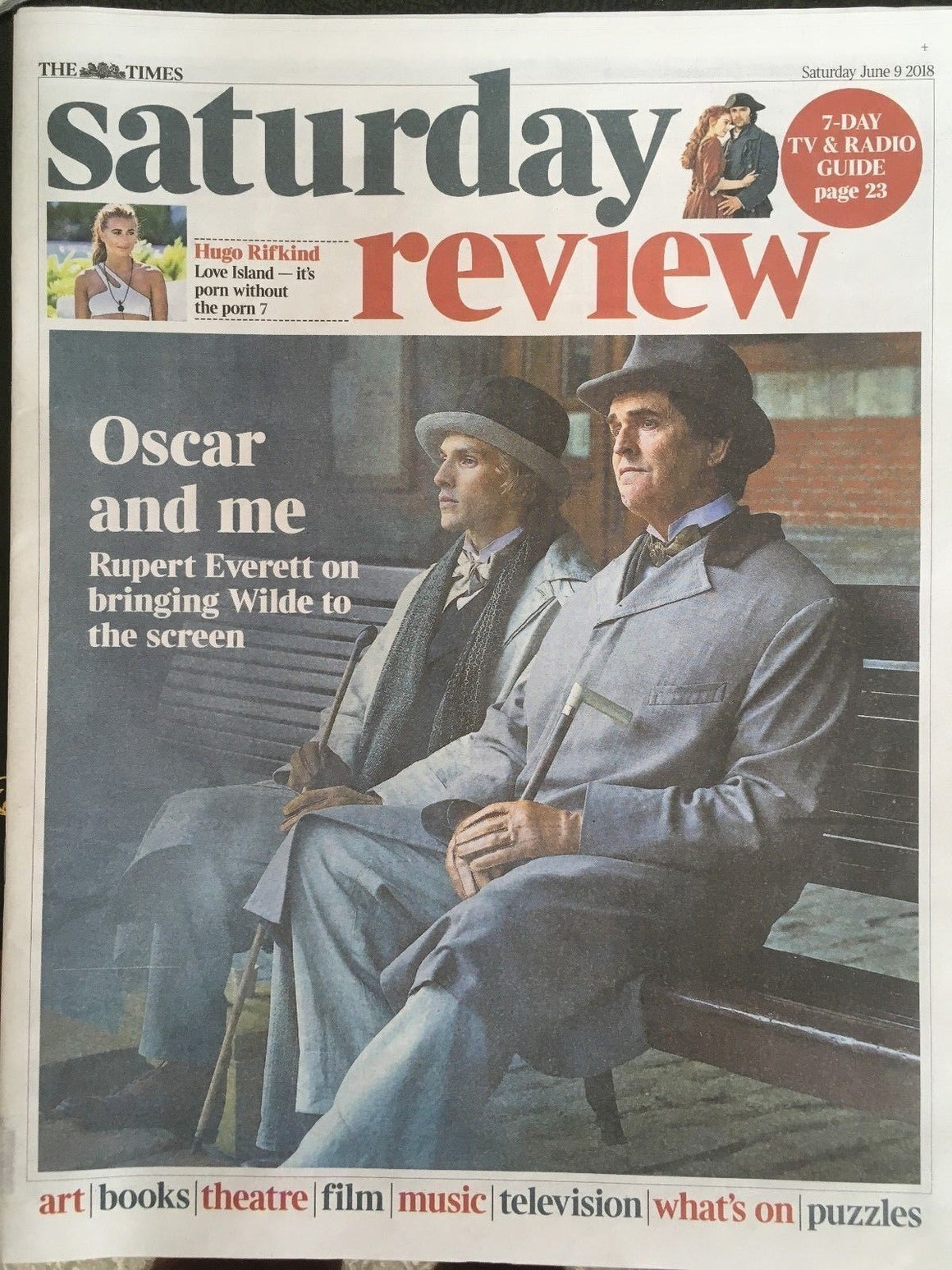 UK Times Review 9 June 2018: Rupert Everett (Wilde) Colin Morgan