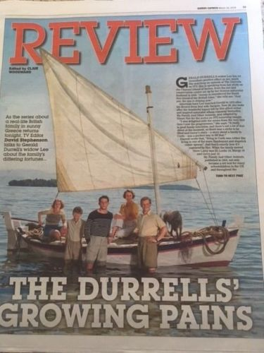 The Durrells KEELEY HAWES PHOTO COVER March 2018 Lee on Gerard Durrell