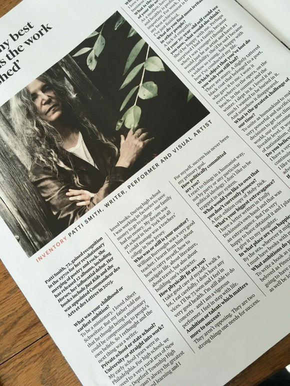 FT WEEKEND magazine September 2019: PATTI SMITH interview