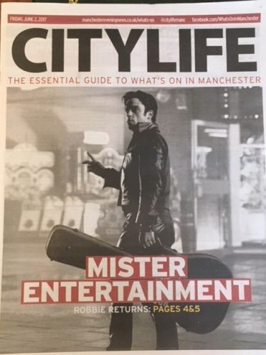 New UK Robbie Williams Manchester City Life Promo Cover Clippings - June 2017