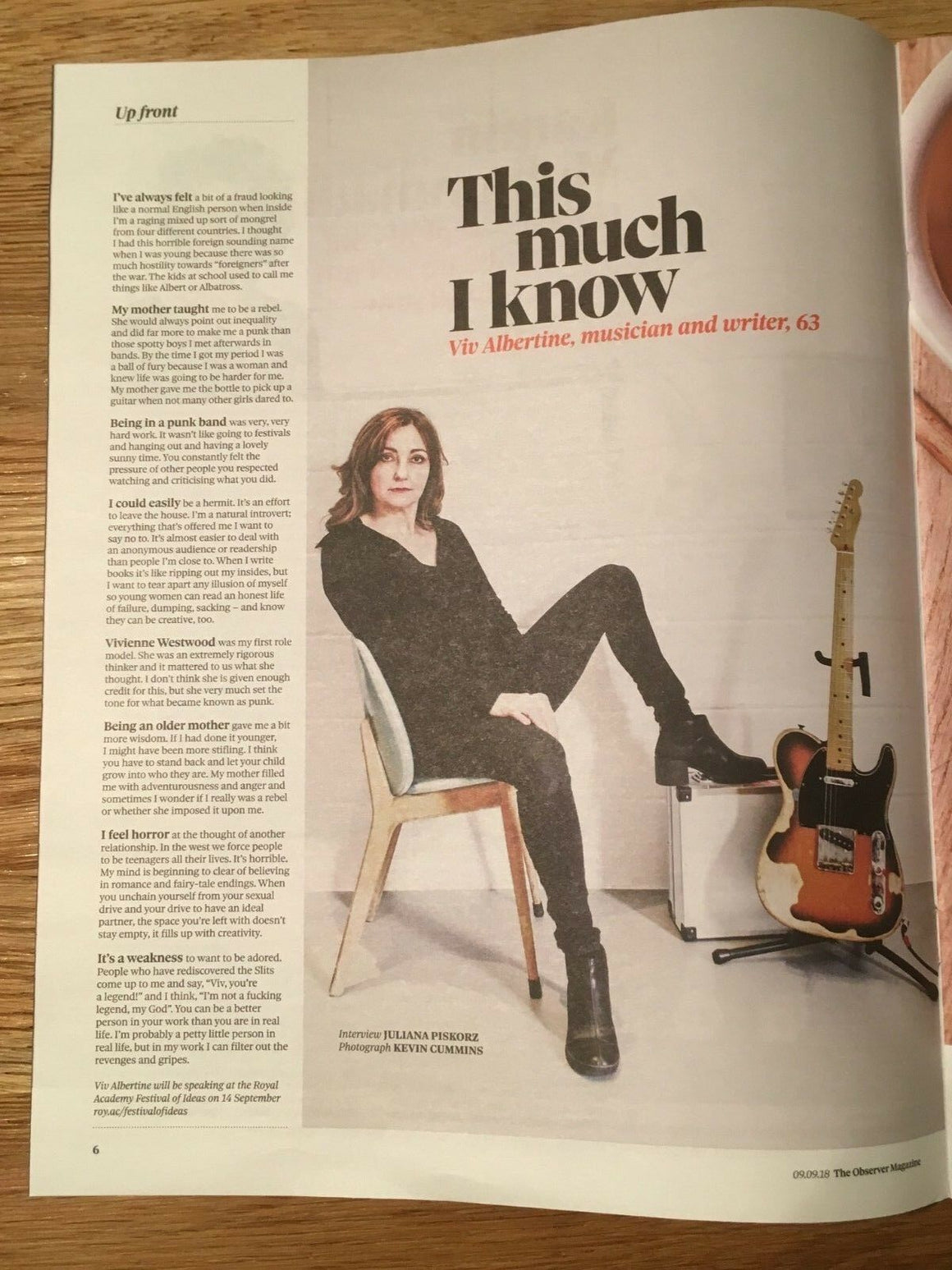UK Observer Magazine September 2018: VIV ALBERTINE ## IMRAN AMED