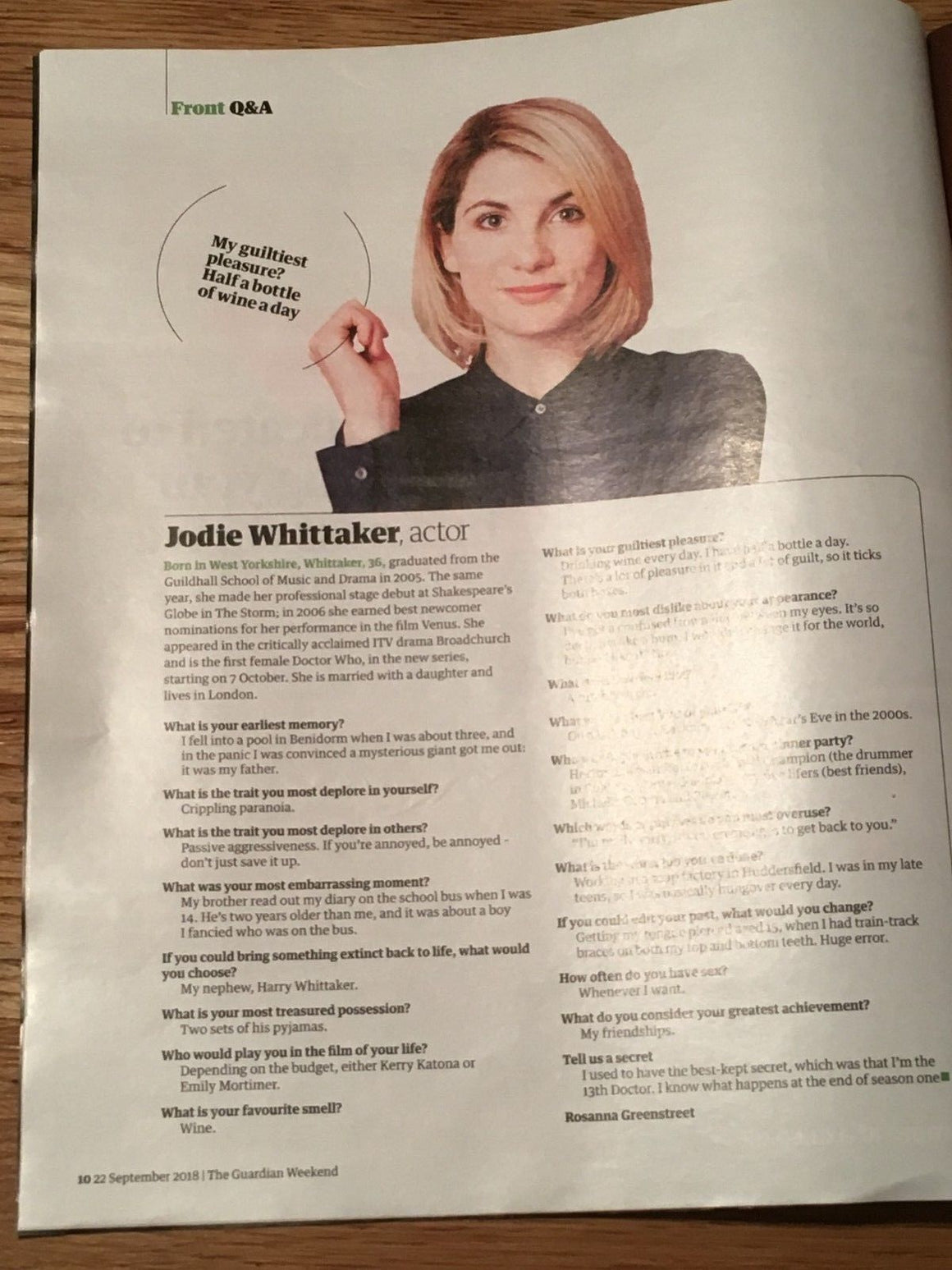 UK Guardian Weekend Magazine SEPT 2018: JODIE WHITTAKER The New Doctor Who