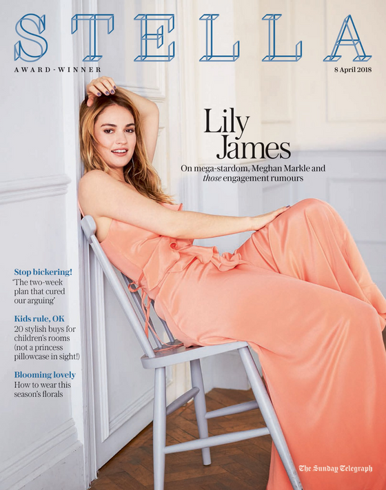 UK Stella Magazine April 2018: LILY JAMES Downton Abbey