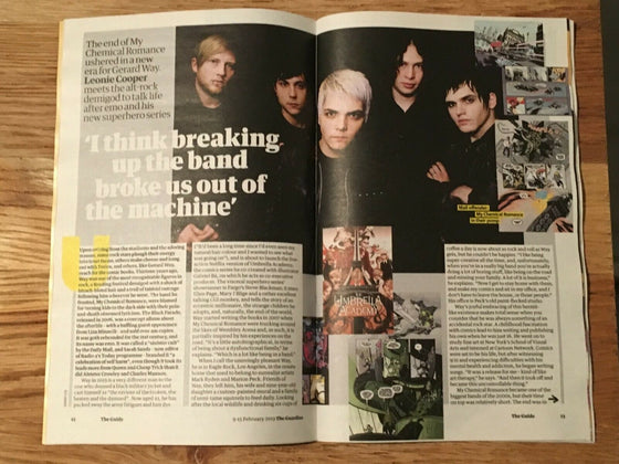 UK Guardian Guide Magazine Feb 2019: Gerard Way - My Chemical Romance Interview