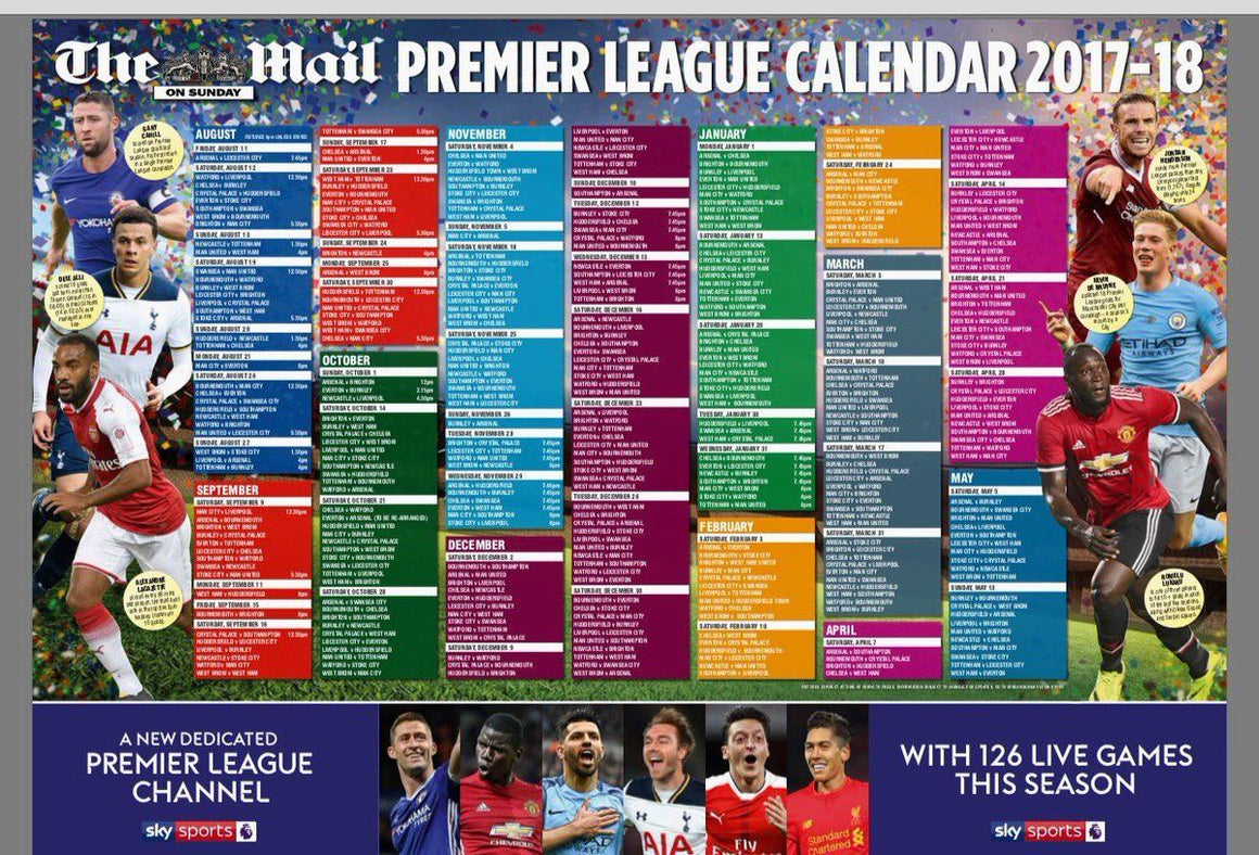 Mail on Sunday Premier Football League 2017/18 Wall Chart Calendar NEW