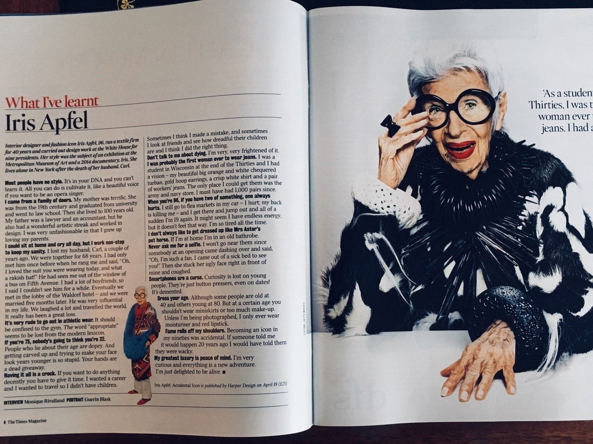 UK Times Magazine APRIL 2018: IRIS APFEL Photo Interview