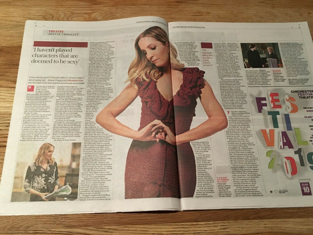 UK Telegraph Review FEB 2019: JOANNE FROGGATT interview DOWNTON ABBEY LOLA KIRKE