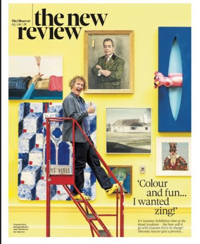 UK OBSERVER NEW REVIEW May 2018: GRAYSON PERRY Tobias Menzies FATHER JOHN MISTY
