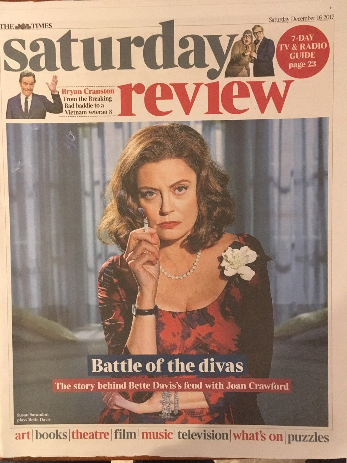 UK Times Review December 2017 Susan Sarandon Mark Gatiss Bryan Cranston