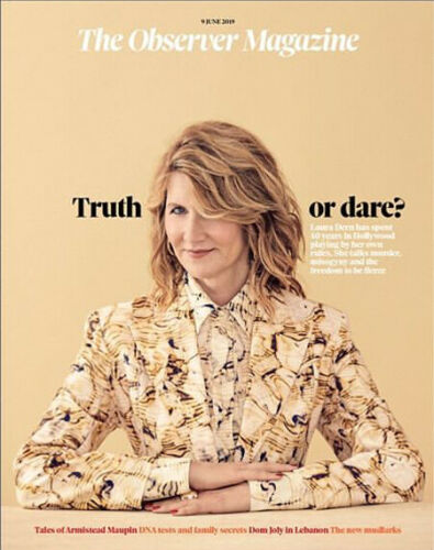 OBSERVER magazine 9th June 2019 Laura Dern cover (Big Little Lies) + interview