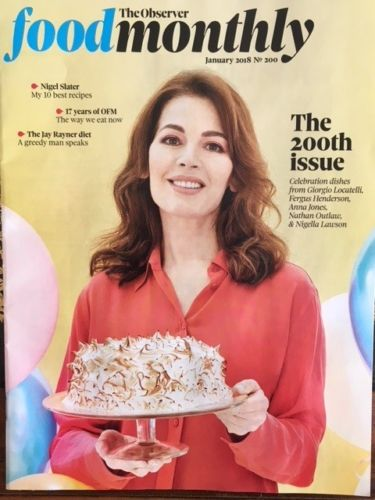 NIGELLA LAWSON PHOTO COVER OBSERVER FOOD MAGAZINE JANUARY 2018 JAMES HASKELL