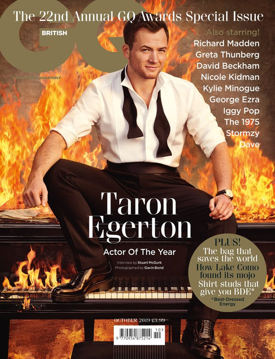 British GQ Magazine October 2019 Taron Egerton Cover
