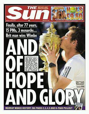 ANDY MURRAY WINS WIMBLEDON 2013 UK THE SUN 08/07/13 NEWSPAPER