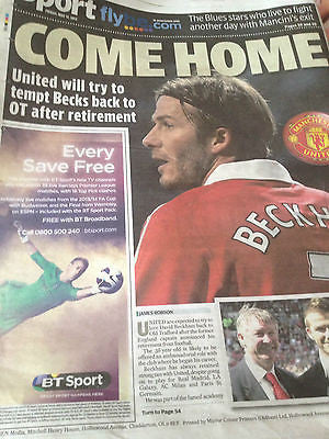 David Beckham's Retirement Manchester Evening News Newspaper United 17 May 2013