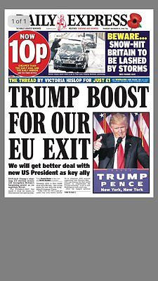 DAILY EXPRESS - UK NEWSPAPER - President DONALD TRUMP 10 Nov 2016 US Election