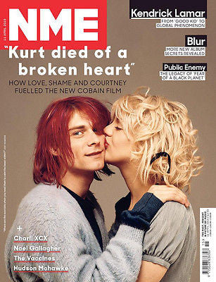 NME MAGAZINE APRIL 2015 KURT COBAIN COURTNEY LOVE NIRVANA PHOTO COVER
