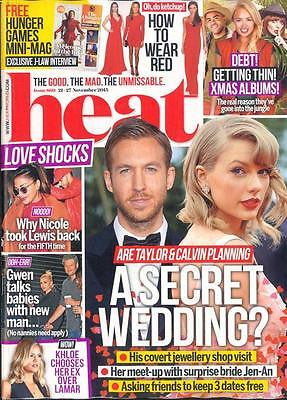 UK HEAT Magazine November 21 2015 TAYLOR SWIFT CALVIN HARRIS PHOTO COVER