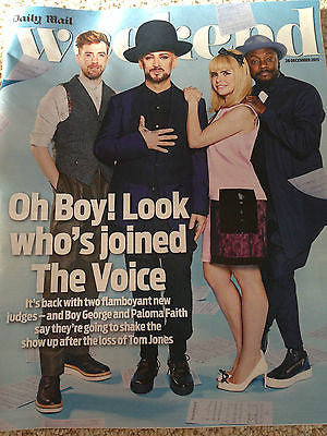 Weekend Magazine Dec 26 2015 BOY GEORGE Aidan Turner Elliot Cowan Toby Stephens