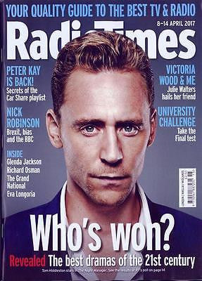 TOM HIDDLESTON Photo Cover Radio Times UK magazine 8 April 2017 Gregory Fitoussi