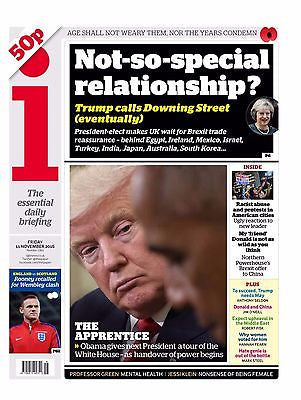 THE I - UK NEWSPAPER - President Obama Meets DONALD TRUMP 11 Nov 2016