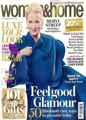 WOMAN & HOME NOV 2015 MERYL STREEP PHOTO INTERVIEW MARTIN CLUNES MONICA BELLUCCI