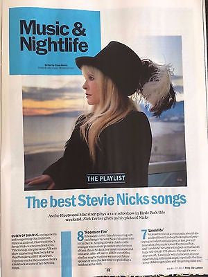 STEVIE NICKS - FLEETWOOD MAC Time Out London UK magazine July 4 2017