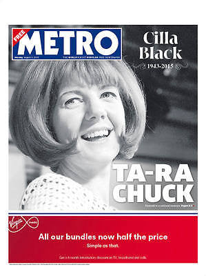 UK THE METRO Newspaper 3/8/15 CILLA BLACK 1943-2015 PHOTO COVER TRIBUTE ISSUE
