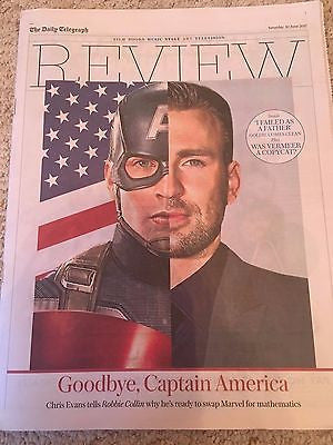Captain America CHRIS EVANS Photo Cover UK Telegraph Interview 10 June 2017