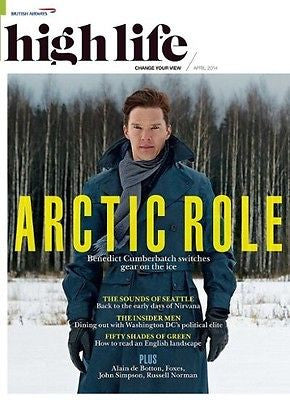 BRITISH AIRWAYS HIGH LIFE MAGAZINE 2014 BENEDICT CUMBERBATCH SHERLOCK HUNK