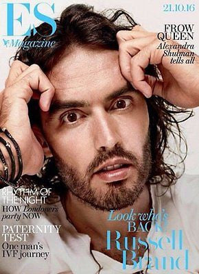 (UK) ES MAGAZINE OCTOBER 2016 RUSSELL BRAND PHOTO COVER INTERVIEW