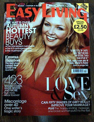 Easy Living Magazine October 2012 Emma Bunton Spice Girls Jessica Findlay Brown