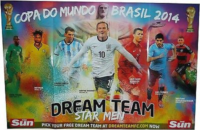 THE SUN NEWSPAPER WORLD CUP WALL CHART BRAZIL 2014 BRAND NEW
