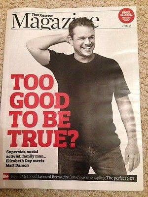 (UK) OBSERVER MAGAZINE SEPTEMBER 2015 MATT DAMON PHOTO INTERVIEW THE MARTIAN