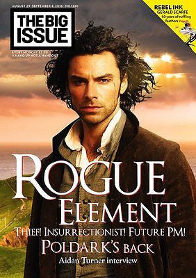 Poldark AIDAN TURNER BIG ISSUE PHOTO COVER INTERVIEW MAGAZINE SEPTEMBER 2016 NEW