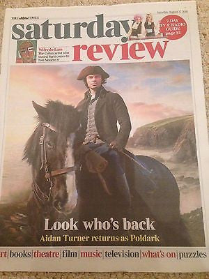 (UK) LONDON TIMES REVIEW AUGUST 2016 AIDAN TURNER Poldark PHOTO COVER INTERVIEW