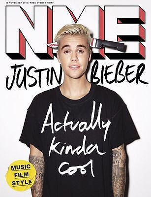 JUSTIN BIEBER WORLD EXCLUSIVE UK NME MAGAZINE NOVEMBER 2015 NEW ISSUE