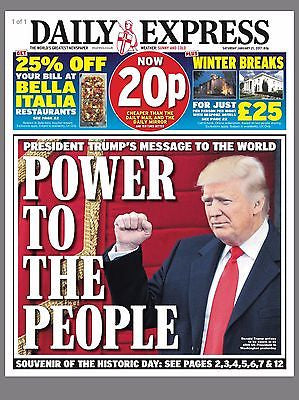 Daily Express Newspaper 21st January 2017 - President Donald Trump Inauguration