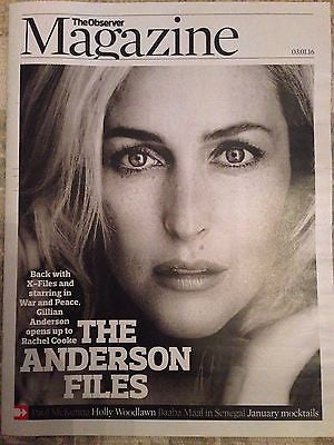 War & Peace GILLIAN ANDERSON Photo Cover Uk Observer Magazine JANUARY 2016 NEW