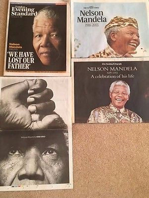 Nelson Mandela RIP death RARE UK Newspaper clippings set - Supplements 1918-2013