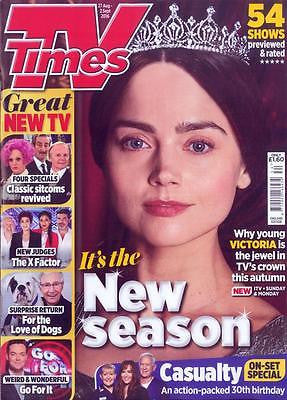 Young Victoria JENNA COLEMAN Photo Cover UK TV TIMES Magazine 27 August 2016