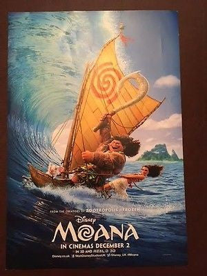 Mini Quad Cinema Poster: MOANA 2016 (On Wave) Dwayne Johnson Nicole Scherzinger
