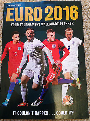 The Times EURO 2016 Double Sided wall chart Planner BRAND NEW