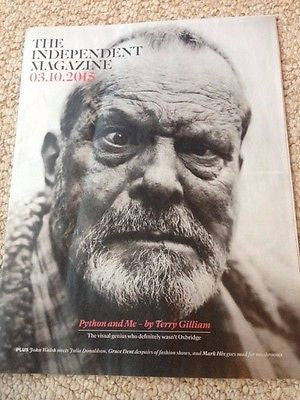 Monty Python TERRY GILLIAM PHOTO COVER INTERVIEW INDEPENDENT MAGAZINE OCT 2015